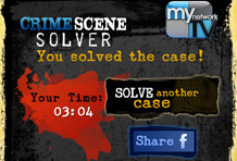 Wireframe MynetworkTV Crime Scene Solver iPhone App